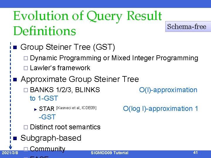 Evolution of Query Result Definitions n Schema-free Group Steiner Tree (GST) ¨ Dynamic Programming