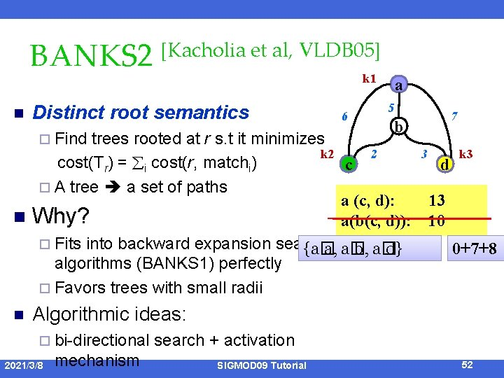 BANKS 2 [Kacholia et al, VLDB 05] k 1 n Distinct root semantics ¨