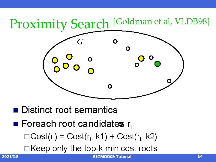 Proximity Search [Goldman et al, VLDB 98] G Distinct root semantics n Foreach root