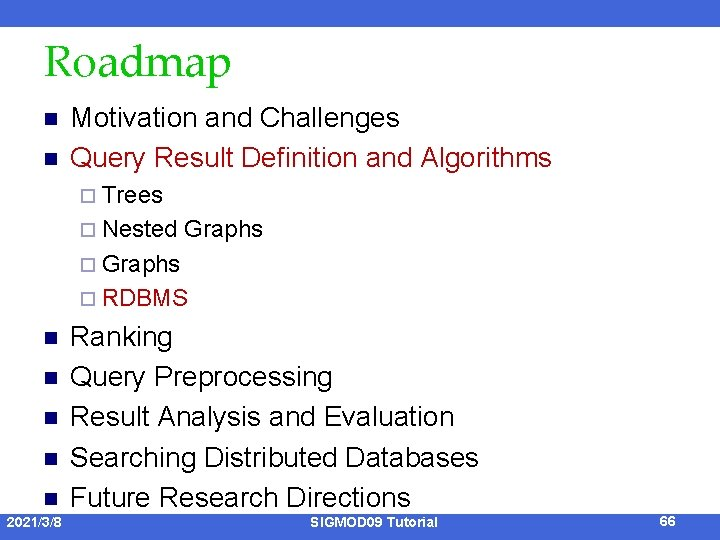 Roadmap n n Motivation and Challenges Query Result Definition and Algorithms ¨ Trees ¨