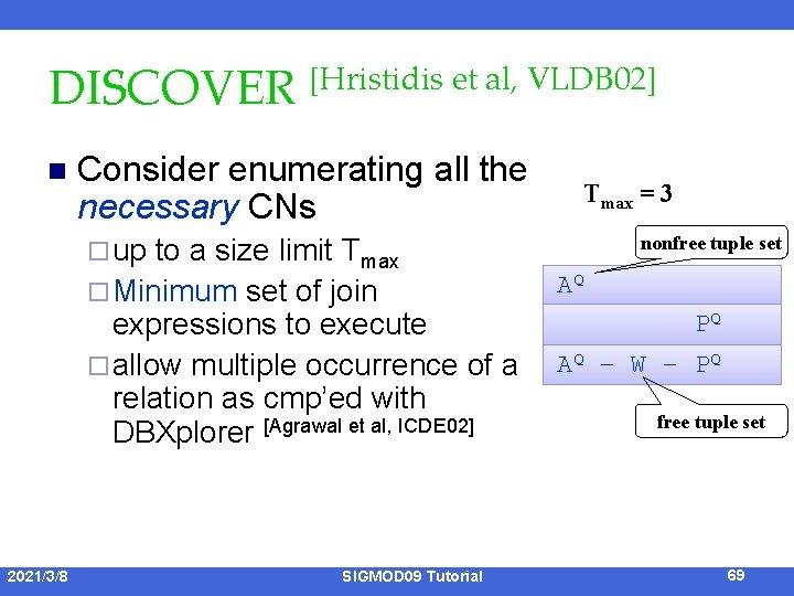 DISCOVER [Hristidis et al, VLDB 02] n Consider enumerating all the necessary CNs ¨