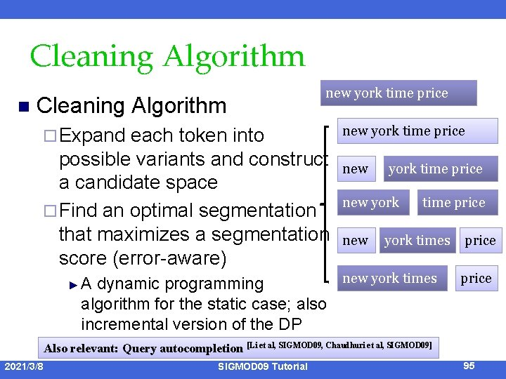 Cleaning Algorithm n Cleaning Algorithm ¨ Expand new york time price each token into