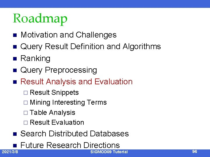 Roadmap n n n Motivation and Challenges Query Result Definition and Algorithms Ranking Query