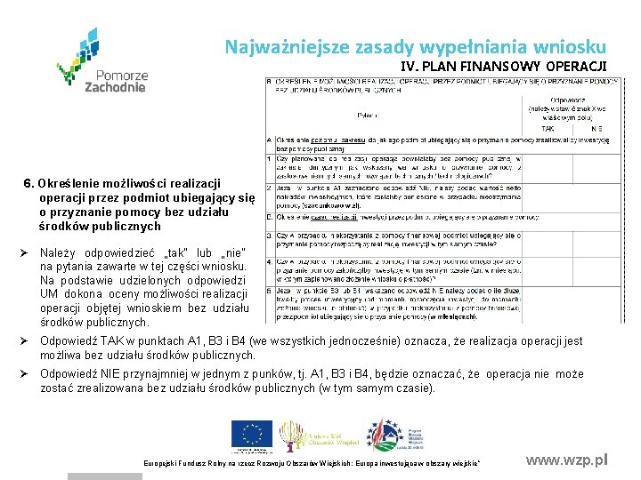 Najważniejsze zasady wypełniania wniosku IV. PLAN FINANSOWY OPERACJI 6. Określenie możliwości realizacji operacji przez