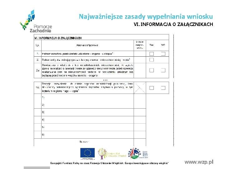 Najważniejsze zasady wypełniania wniosku VI. INFORMACJA O ZAŁĄCZNIKACH . . . Europejski Fundusz Rolny