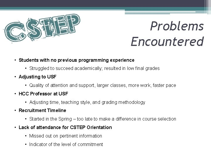 Problems Encountered • Students with no previous programming experience • Struggled to succeed academically;