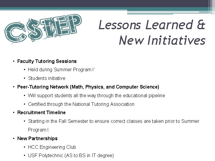 Lessons Learned & New Initiatives • Faculty Tutoring Sessions • Held during Summer Program