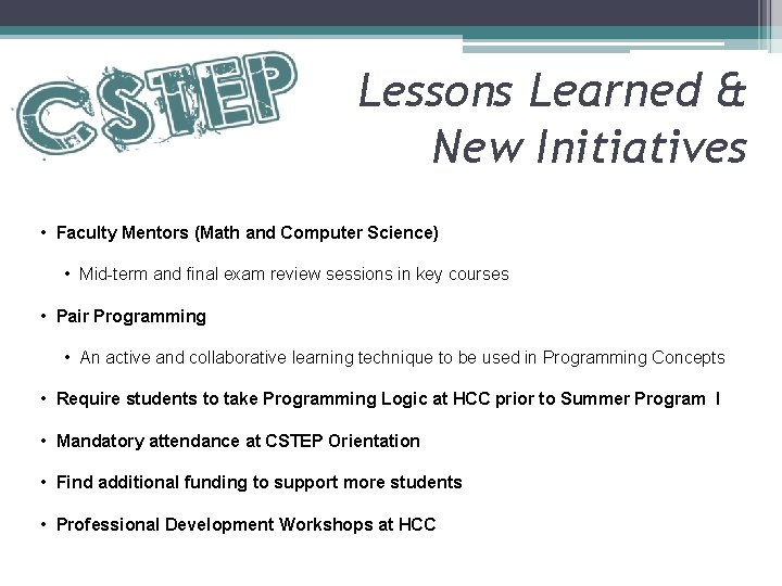 Lessons Learned & New Initiatives • Faculty Mentors (Math and Computer Science) • Mid-term