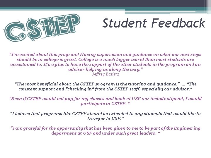 """Student Feedback """"I'm excited about this program! Having supervision and guidance on what our"""