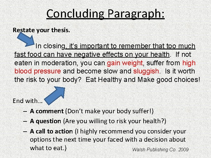 Concluding Paragraph: Restate your thesis. In closing, it's important to remember that too much