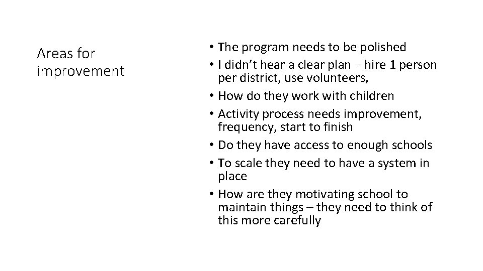 Areas for improvement • The program needs to be polished • I didn't hear