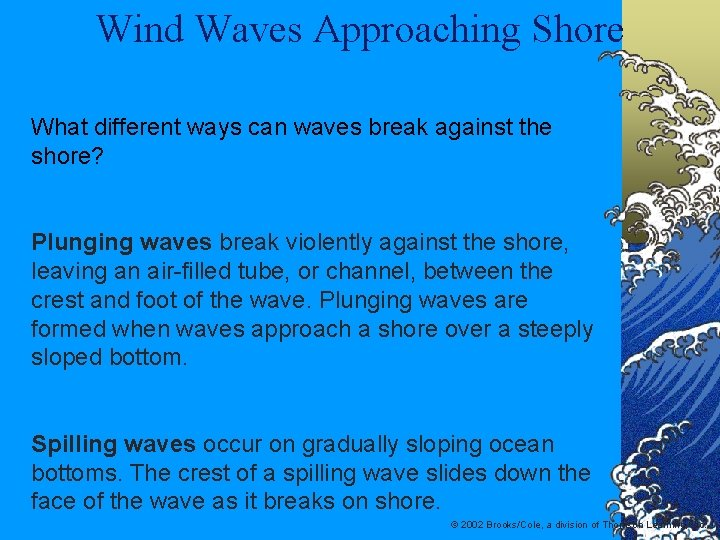 Wind Waves Approaching Shore What different ways can waves break against the shore? Plunging