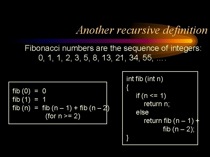 Another recursive definition Fibonacci numbers are the sequence of integers: 0, 1, 1, 2,