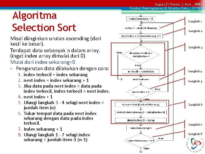 Algoritma Selection Sort Misal diinginkan urutan ascending (dari kecil ke besar). Terdapat data sebanyak
