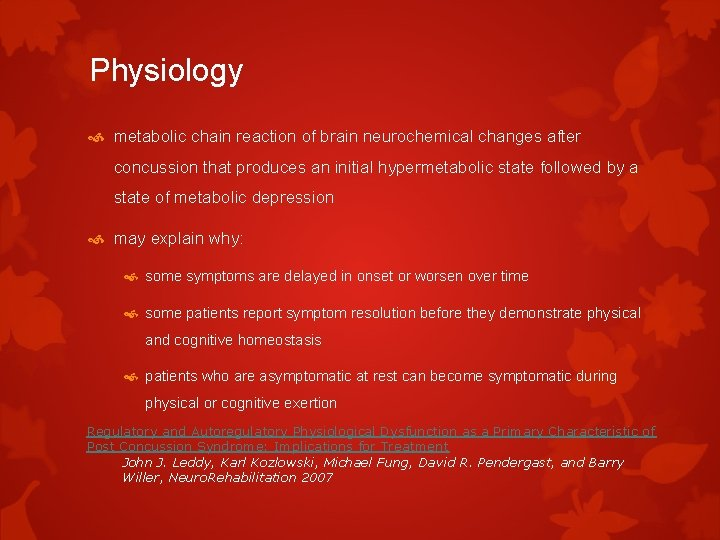 Physiology metabolic chain reaction of brain neurochemical changes after concussion that produces an initial