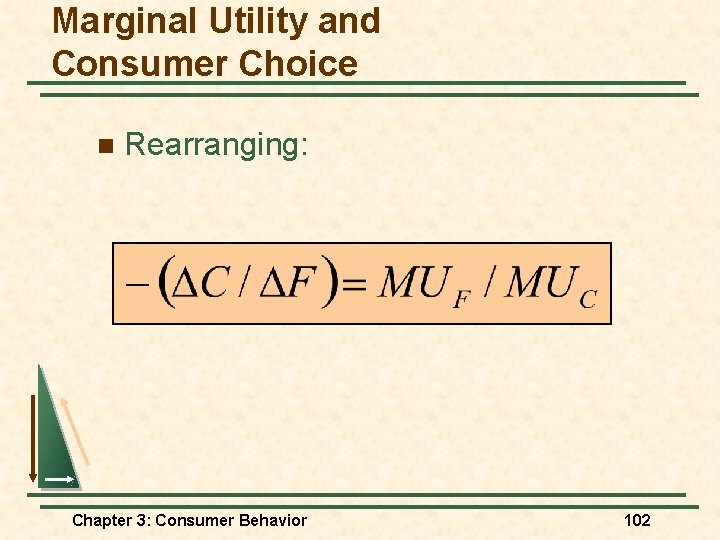 Marginal Utility and Consumer Choice n Rearranging: Chapter 3: Consumer Behavior 102