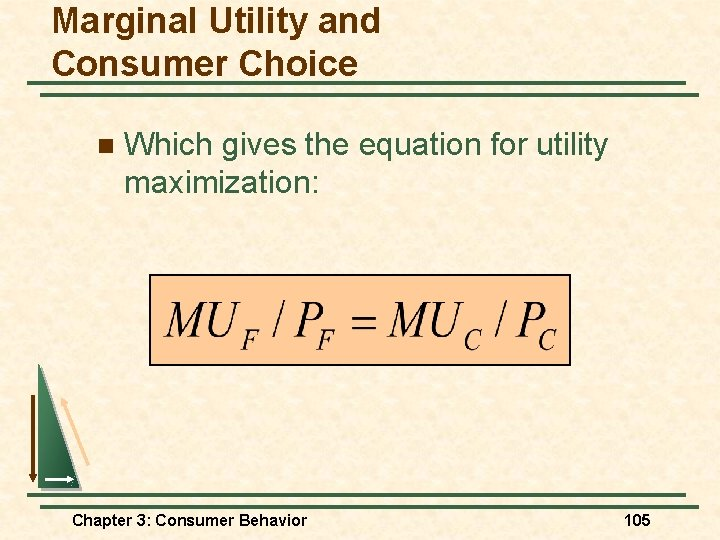 Marginal Utility and Consumer Choice n Which gives the equation for utility maximization: Chapter