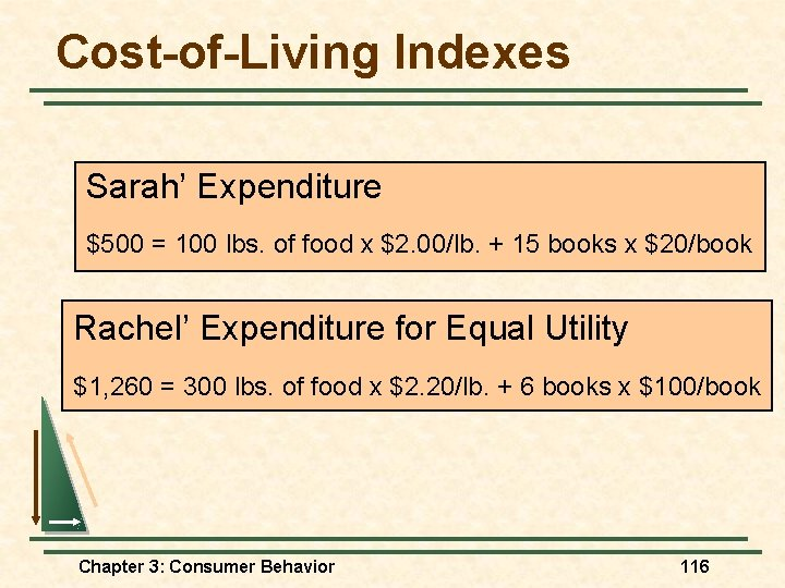 Cost-of-Living Indexes Sarah' Expenditure $500 = 100 lbs. of food x $2. 00/lb. +