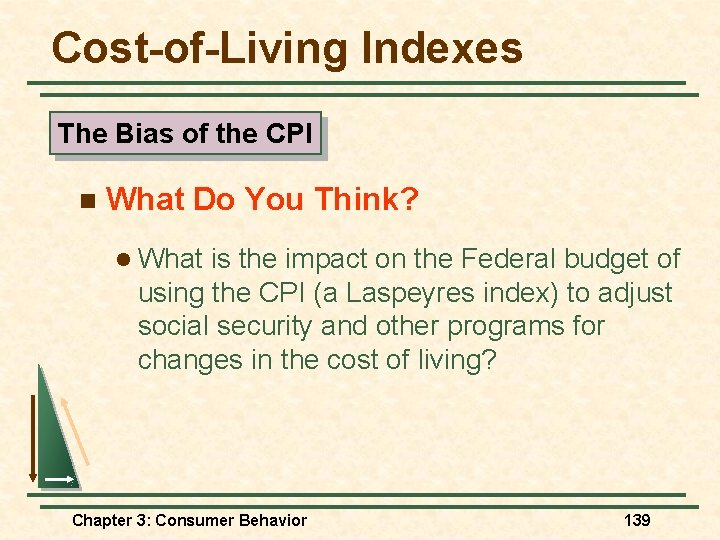 Cost-of-Living Indexes The Bias of the CPI n What Do You Think? l What
