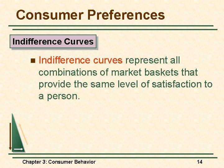 Consumer Preferences Indifference Curves n Indifference curves represent all combinations of market baskets that
