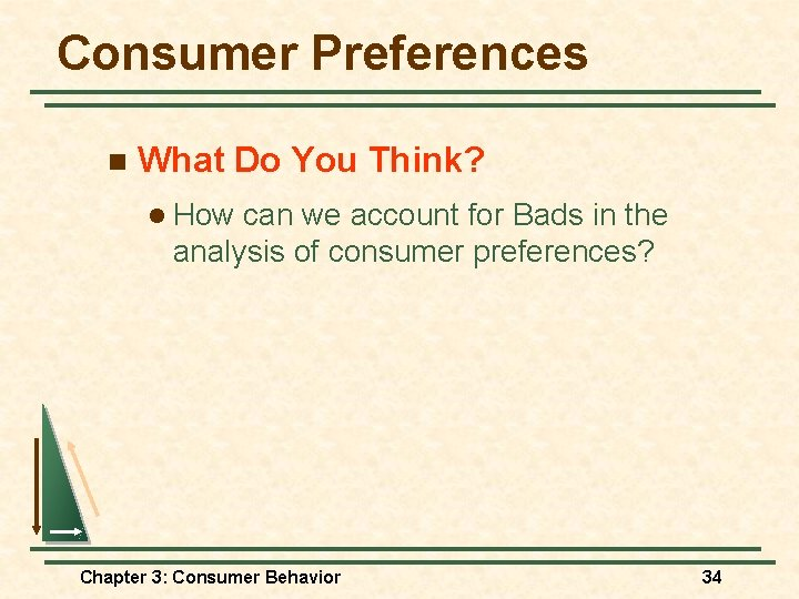 Consumer Preferences n What Do You Think? l How can we account for Bads
