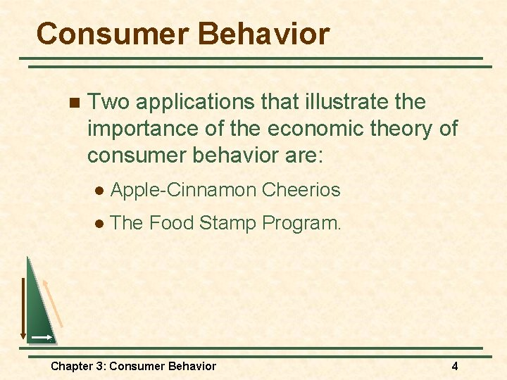 Consumer Behavior n Two applications that illustrate the importance of the economic theory of