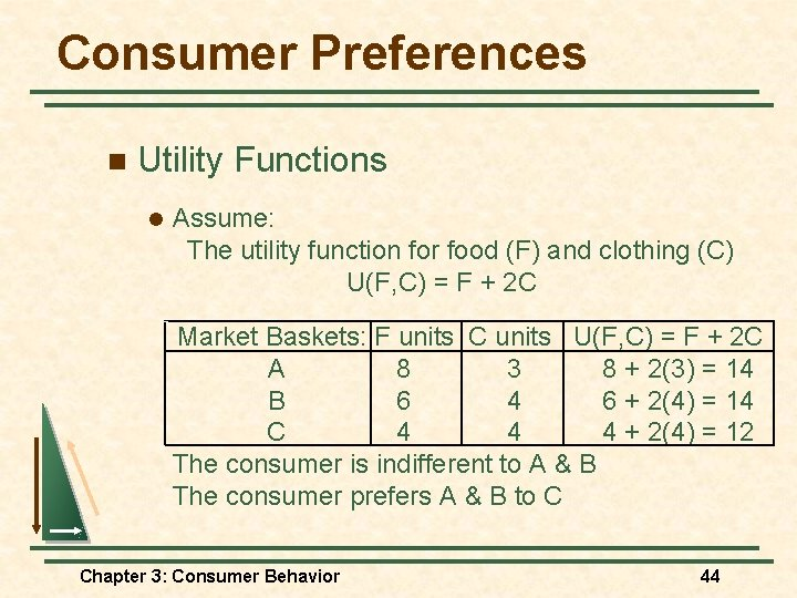 Consumer Preferences n Utility Functions l Assume: The utility function for food (F) and
