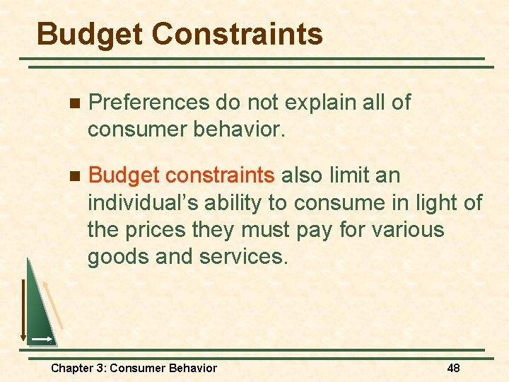 Budget Constraints n Preferences do not explain all of consumer behavior. n Budget constraints