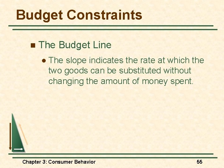 Budget Constraints n The Budget Line l The slope indicates the rate at which
