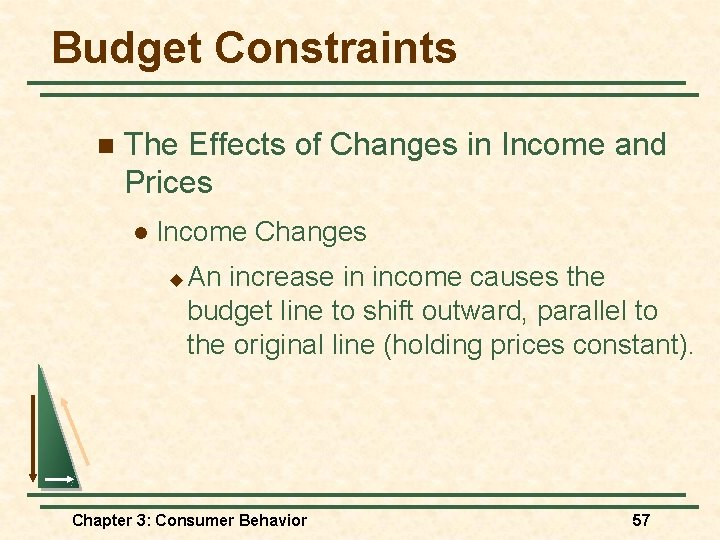 Budget Constraints n The Effects of Changes in Income and Prices l Income Changes