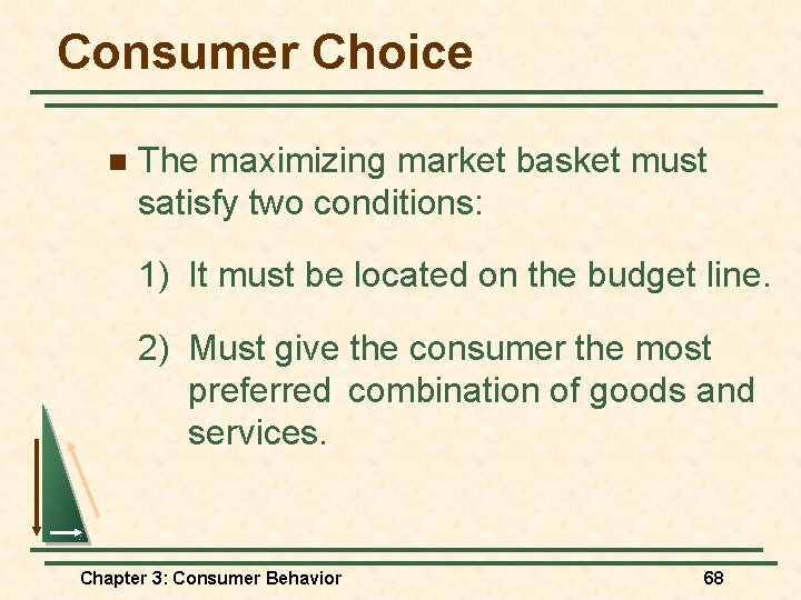 Consumer Choice n The maximizing market basket must satisfy two conditions: 1) It must