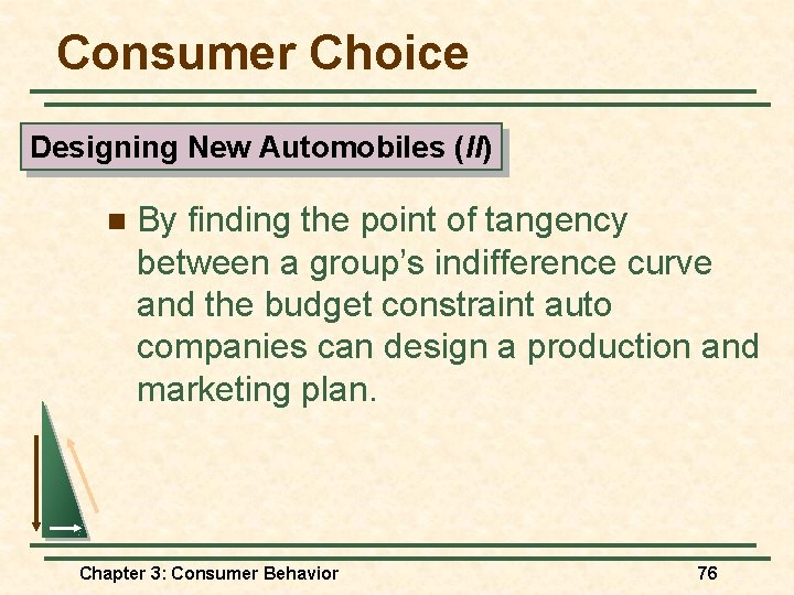 Consumer Choice Designing New Automobiles (II) n By finding the point of tangency between