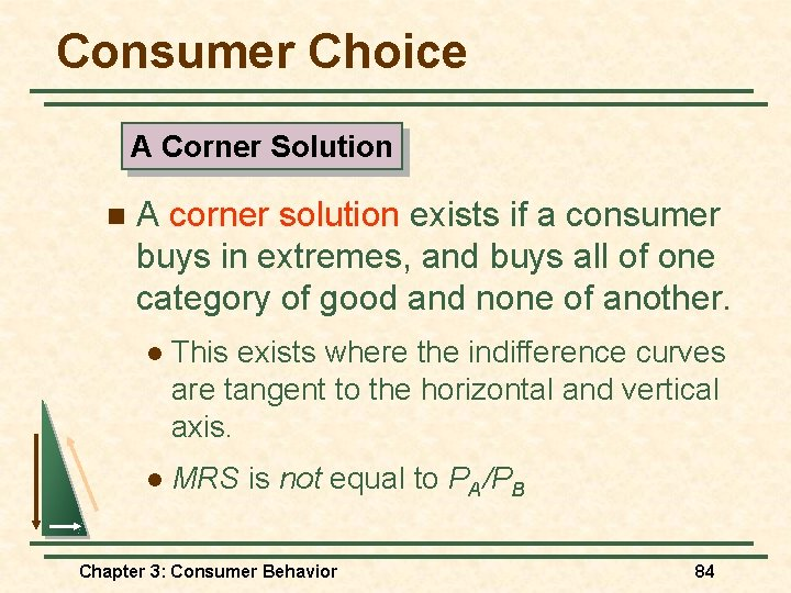 Consumer Choice A Corner Solution n A corner solution exists if a consumer buys