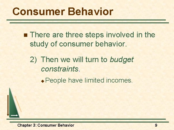 Consumer Behavior n There are three steps involved in the study of consumer behavior.