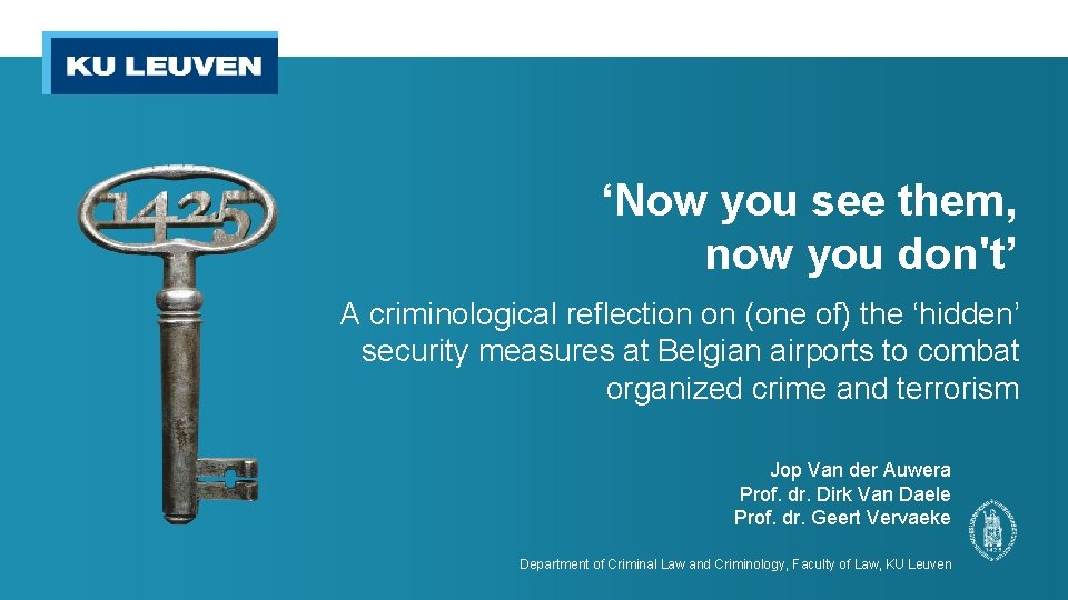 'Now you see them, now you don't' A criminological reflection on (one of) the