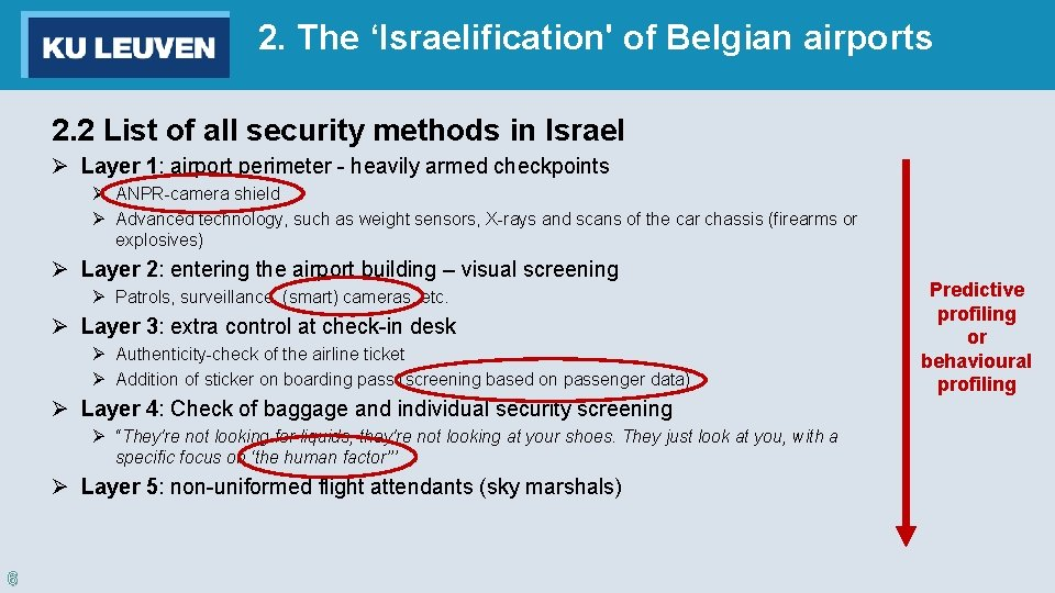 2. The 'Israelification' of Belgian airports 2. 2 List of all security methods in