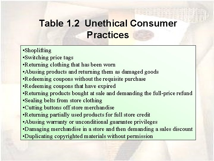 Table 1. 2 Unethical Consumer Practices • Shoplifting • Switching price tags • Returning