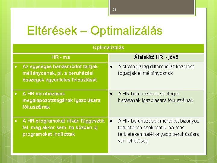 21 Eltérések – Optimalizálás HR - ma Átalakító HR - jövő Az egységes bánásmódot
