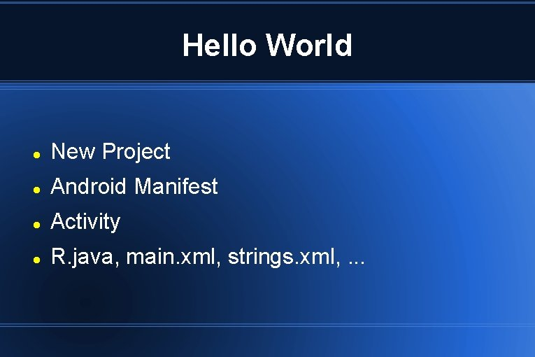 Hello World New Project Android Manifest Activity R. java, main. xml, strings. xml, .
