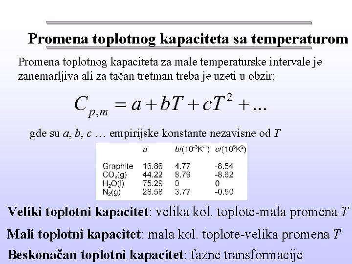 Promena toplotnog kapaciteta sa temperaturom Promena toplotnog kapaciteta za male temperaturske intervale je zanemarljiva