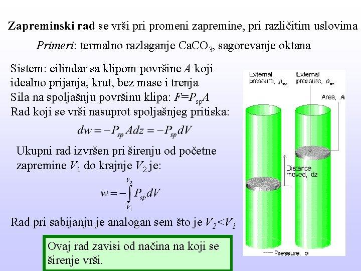 Zapreminski rad se vrši promeni zapremine, pri različitim uslovima Primeri: termalno razlaganje Ca. CO