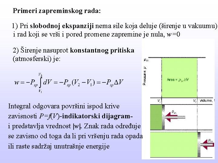 Primeri zapreminskog rada: 1) Pri slobodnoj ekspanziji nema sile koja deluje (širenje u vakuumu)