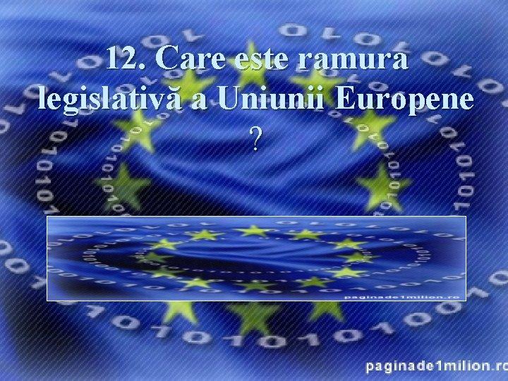 12. Care este ramura legislativă a Uniunii Europene ? Răspuns: Consiliul Uniunii Europene, denumit