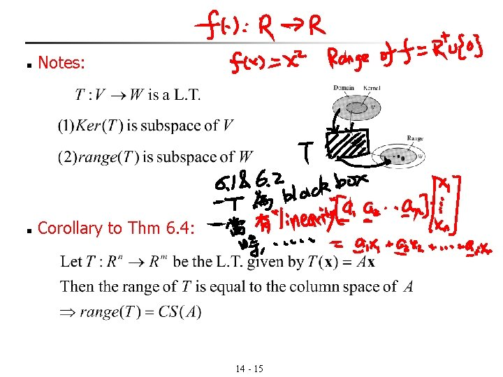 n Notes: n Corollary to Thm 6. 4: 14 - 15
