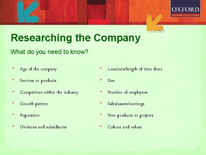 Researching the Company What do you need to know? • Age of the company