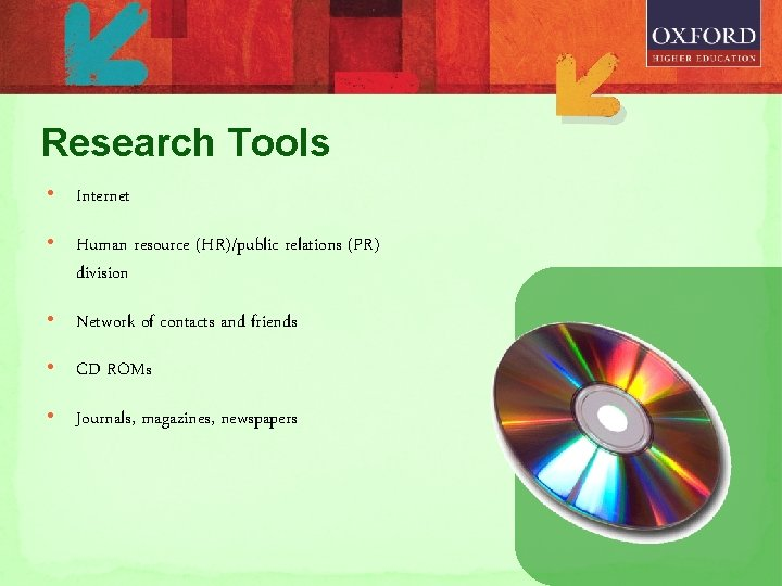 Research Tools • Internet • Human resource (HR)/public relations (PR) division • Network of