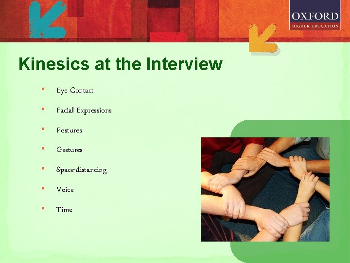 Kinesics at the Interview • Eye Contact • Facial Expressions • Postures • Gestures