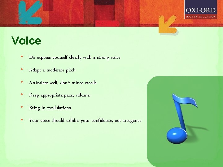 Voice • Do express yourself clearly with a strong voice • Adopt a moderate