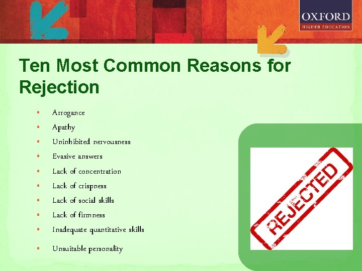 Ten Most Common Reasons for Rejection • • • Arrogance Apathy Uninhibited nervousness Evasive