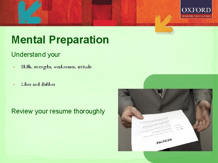 Mental Preparation Understand your • Skills, strengths, weaknesses, attitude • Likes and dislikes Review